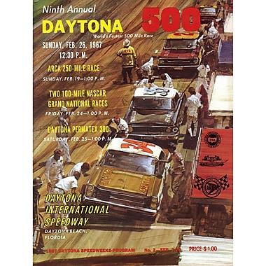 Mounted Memories NASCAR Daytona 500 Program Vintage Advertisement on Canvas; 9th Annual - 1967