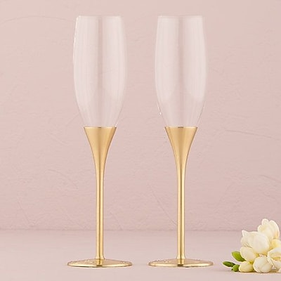 Weddingstar Venice Wedding Toasting Flute Glass (Set of 2); Gold