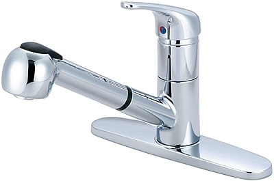 Olympia Faucets Pull Out Single Handle Kitchen Faucet; Chrome