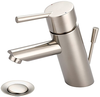 Olympia Faucets Deck Mounted Bathroom Faucet; PVD Brushed Nickel