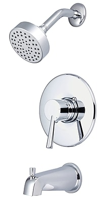 Olympia Faucets Single Lever Handle Tub and Shower Trim Set; PVD Brushed Nickel