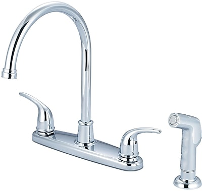 Olympia Faucets Double Handle Kitchen Faucet w/ Side Spray; Chrome