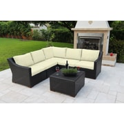 Bellini Marcelo 6 Piece Sectional Seating Group w/ Cushions; White - White - Canvas Natural