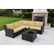 Bellini Marcelo 6 Piece Sectional Seating Group w/ Cushions; Black and White - Cabana Classic