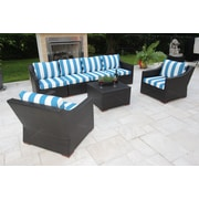 Bellini Marcelo 7 Piece Deep Seating Group w/ Cushions; Blue and White - Cabana Regatta