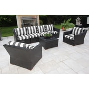 Bellini Marcelo 7 Piece Deep Seating Group w/ Cushions; Black and White - Cabana Classic