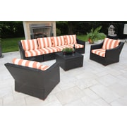 Bellini Marcelo 7 Piece Deep Seating Group w/ Cushions; Red and White - Cabana Flame