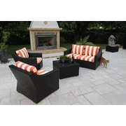 Bellini Marcelo 5 Piece Deep Seating Group w/ Cushions; Red and White - Cabana Flame