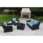 Bellini Marcelo 5 Piece Deep Seating Group w/ Cushions; Blue and White - Cabana Regatta