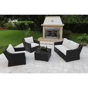 Bellini Marcelo 5 Piece Deep Seating Group w/ Cushions; White - White - Canvas Natural