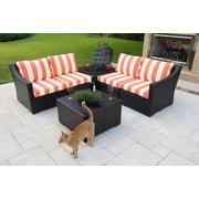 Bellini Marcelo 6 Piece Sectional Seating Group w/ Cushions; Red and White - Cabana Flame
