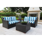 Bellini Marcelo 6 Piece Sectional Seating Group w/ Cushions; Blue and White - Cabana Regatta