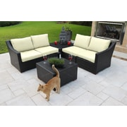 Bellini Marcelo 6 Piece Sectional Seating Group w/ Cushions; White - Canvas Natural