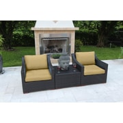 Bellini Marcelo 3 Piece Deep Seating Group w/ Cushions; Beige - Canvas Heather Beige
