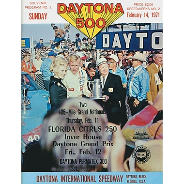 Mounted Memories NASCAR Daytona 500 Program Vintage Advertisement on Canvas; 13th Annual - 1971