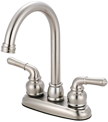 Olympia Faucets Double Handle Kitchen Faucet; PVD Brushed Nickel