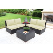 Bellini Scholtz 6 Piece Deep Seating Group w/ Cushions; White - Canvas Natural