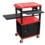 Offex Tuffy 3 Shelf AV Cart; Black / Red