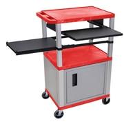Offex Tuffy 3 Shelf AV Cart; Gray / Red