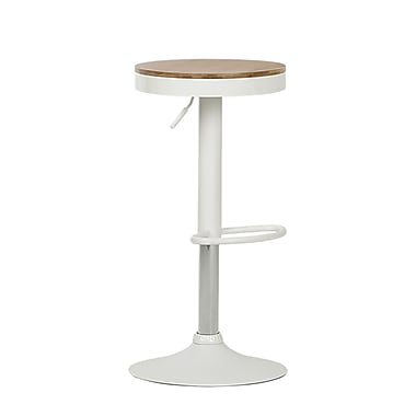 Crea White Adjustable Metal Stool with Wood Seat