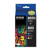 Epson 802 DURABrite Ultra Ink Cartridge, High Yield Black and Standard Yield Colors, Multipack CMYK (T802XL-BCS)