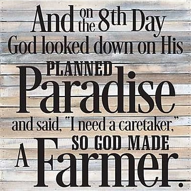 Artistic Reflections 'So God Made a Farmer' Textual Art on Wood in Gray