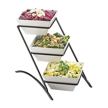 Cal-Mil Melamine 3 Tier Square Tiered Stand; Black