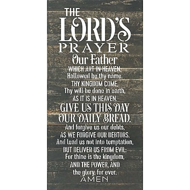 Artistic Reflections 'Lord's Prayer' Textual Art on Dark Wood