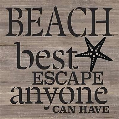 Artistic Reflections 'Beach Best Escape Anyone Can Have' Textual Art on Wood in Gray