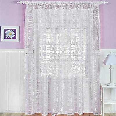 Elrene Home Fashions Nature/Floral Sheer Rod Pocket Single Curtain Panel; Snow White