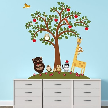 Walplus Animal Friends and Apple Tree Wall Decal