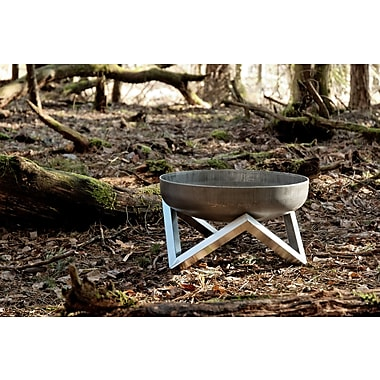 Curonian Memel Stainless and Rusting Steel Wood Burning Fire Pit; 10.6'' H x 17.7'' W x 17.7'' D