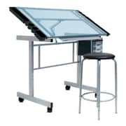 Offex Vision 2 Piece Craft Station and Glass Drafting Table w/ Stool