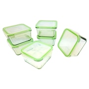 Kinetic Glassworks 12-Piece Square Oven Safe Glass Food Storage Container Set