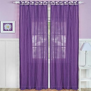 Zoomie Kids Erasma Solid Sheer Tab Top Single Curtain Panel; Purple