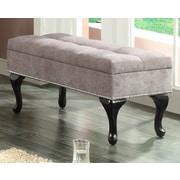 WorldWide HomeFurnishings Fabric Storage Bench w/ Stud Detail; Grey