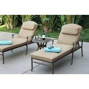 Alcott Hill Thompson 3 Piece Chaise Lounge Set w/ Cushions; Mocha