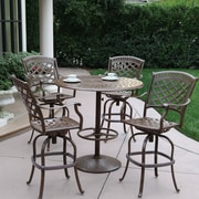 Alcott Hill Thompson 5 Piece Bar Set w/ Cushions; Mocha by