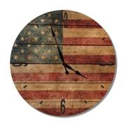Gizaun Art 'Rustic Flag Wood Clock' Photographic Print on Wood