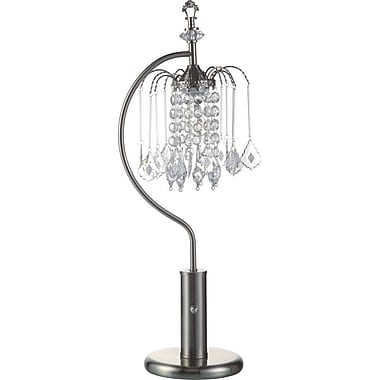 Major-Q Crystal-Inspired Shade 27'' Table Lamp; Brushed Steel