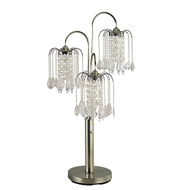 Major-Q 716 Table Lamp w/ Crystal-Like Shades, Polished Brass; Antique Brass