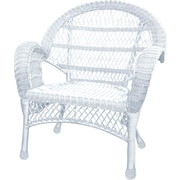 Jeco Inc. Wicker Armchair Chair (Set of 2); White