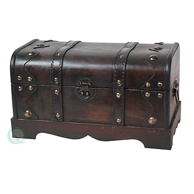 Vintiquewise Small Pirate Wooden Treasure Chest