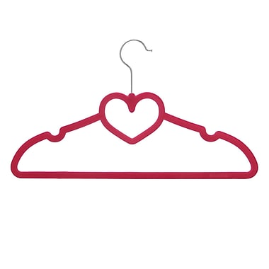 BriaUSA Sturdy Heart Shaped Slim Clothes Hanger (Set of 20); Pink