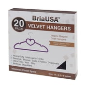 BriaUSA Sturdy Heart Shaped Slim Clothes Hanger  (Set of 20); Purple