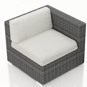 Harmonia Living District Right Arm Section Chair w/ Cushion; Canvas Natural