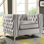 Chic Home Furniture Da Vinci Velvet Club Chair; Silver