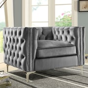 Chic Home Furniture Da Vinci Velvet Club Chair; Gray