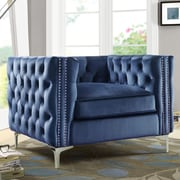 Chic Home Furniture Da Vinci Velvet Club Chair; Navy