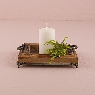 Weddingstar Rustic Wood Tray w/ Ornamental Handles; 2.75'' H x 8'' W x 8'' D
